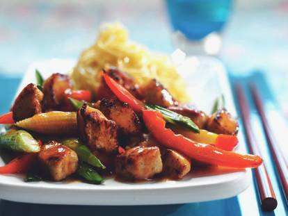quorn pieces in sweet & sour stir fry vegetarian recipe