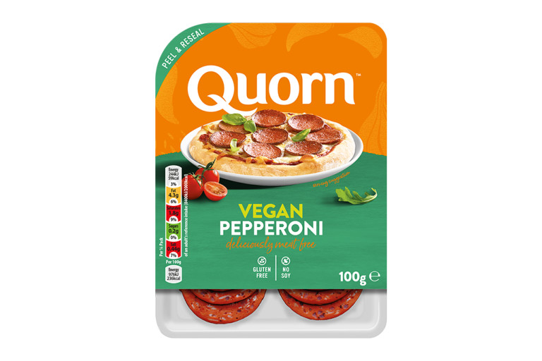 Meat free Quorn Vegan Pepperoni Slices product packaging with nutritional information