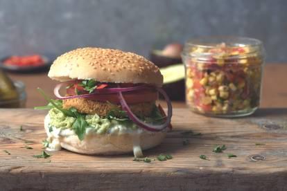 Quorn veganistische hete en pittige Mexicaanse hamburger
