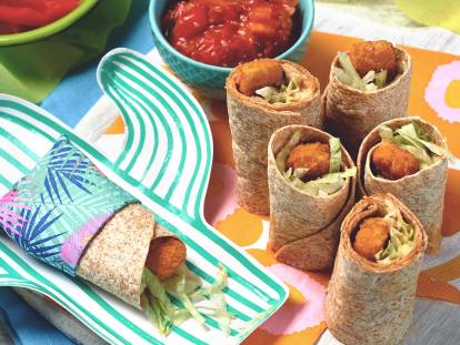 quorn fishless finger wrap bites quick vegetarian recipe