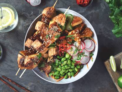 bbq teriyaki quorn fillets and pineapple buddha bowl vegetarian recipe