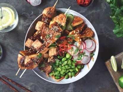bbq teriyaki quorn fillets and pineapple buddha bowl vegetarian recipe