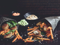 Quorn Southern Fried Bites with sweet potato fries and 3 dips