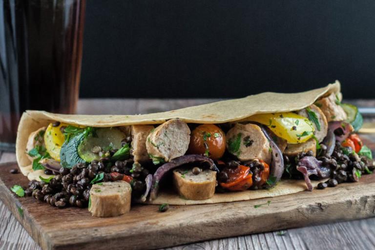 Brilliant Bangers Vegan Sausage Cassoulet Crepes