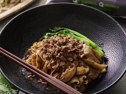 Braised Mee Pok with Quorn Meat Free Mince and Mushroom