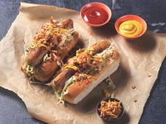 Quorn Hot Dogs with Mustard Slaw and Sauerkraut