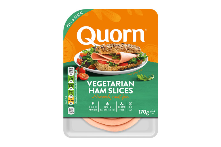 Meat free Quorn Vegetarian Ham Slices product packaging with nutritional information