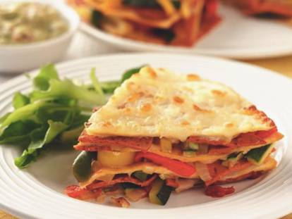 quorn pepperoni slices layered tortilla stack vegetarian recipe