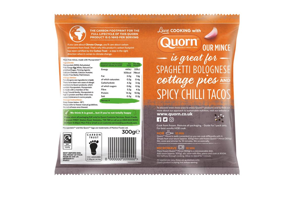 Quorn Unveils Carbon Footprint Labelling Of Its Products And Calls