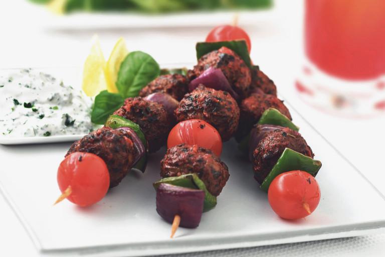 Lakto-ovo vegetariskt grillspett med quornbullar -recept