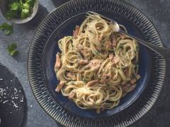 Vegan Carbonara with Quorn Smoky Vegan Ham