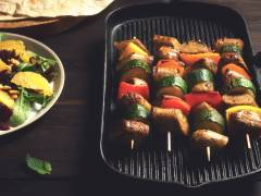 quorn wild garlic & parsley sausage kebabs mediterranean recipe