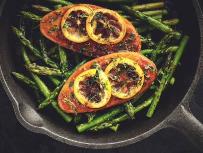 quorn vegan fillets with lemon glaze & asparagus recipe