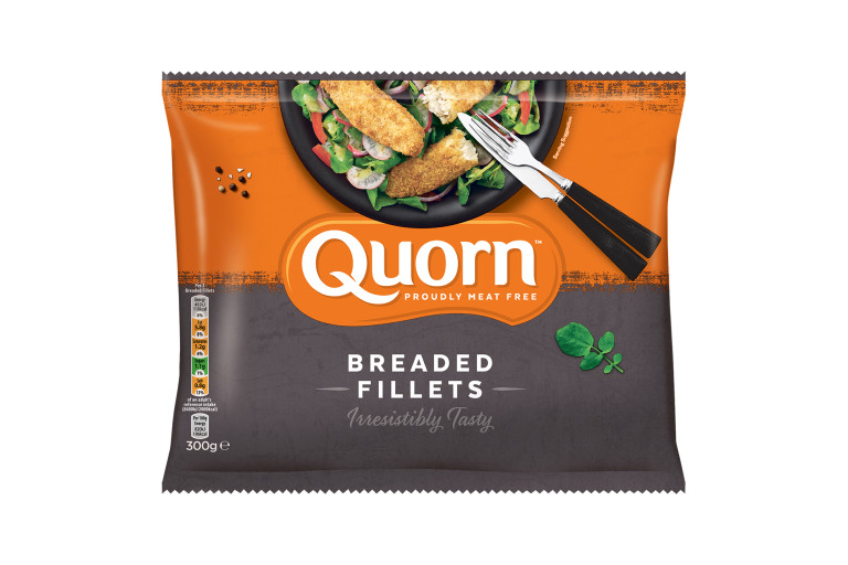 A bag of Quorn Breaded Fillets showing the prepared product and information on an orange and charcoal background.