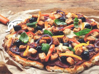 Homemade Gluten Free Pizza with Quorn Meat Free Pieces