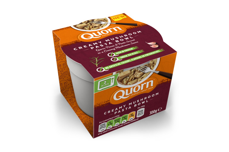 A packaged serving of Quorn Creamy Mushroom Pasta Bowl showing the prepared product and information.