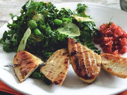 Quorn Fillet, Kale and Edamame Bean Salad