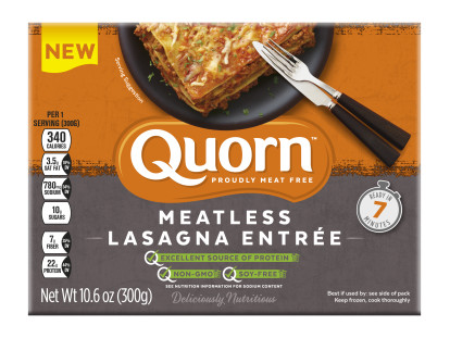 A box of Quorn Meatless Lasagna Entrée showing the plated product and information on an orange and charcoal background.