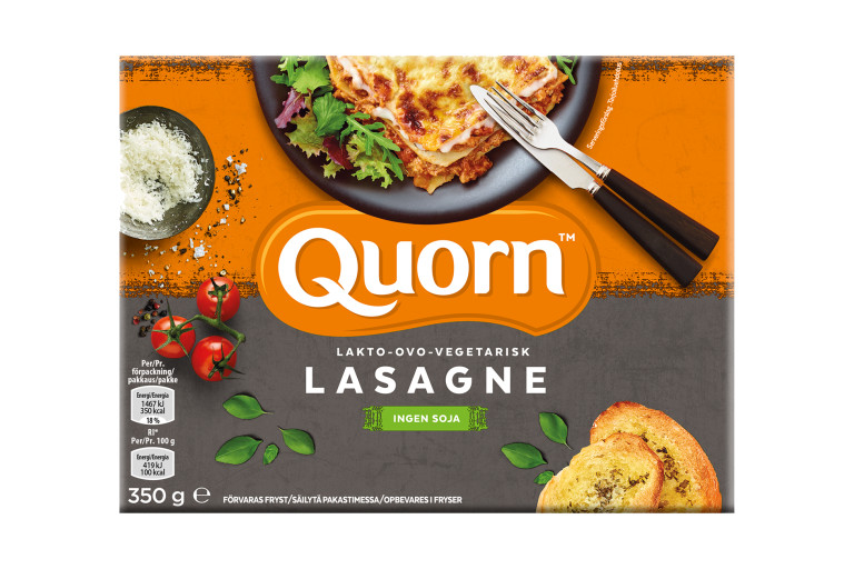 Quorn meat free Lasagne product packaging with nutritional information.