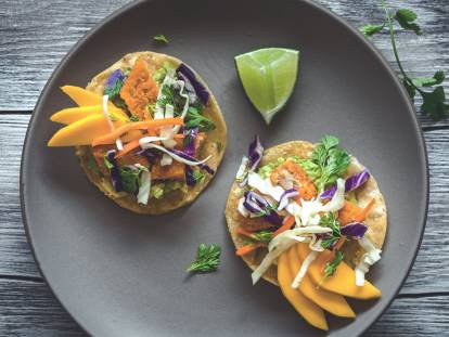 baja fishless tostadas vegetarian recipe