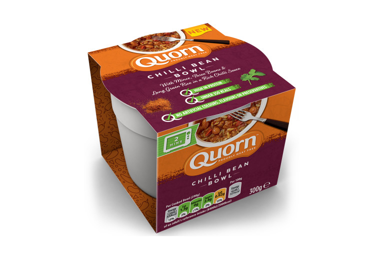 Meat free Quorn Chilli Bean Bowl ready meal product packaging with nutritional information