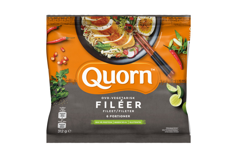 A bag of Quorn Fillets showing the prepared product and information on an orange and charcoal background.