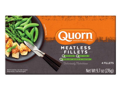 A box of Quorn Meatless Filets showing the product and the product information on an orange and charcoal background.