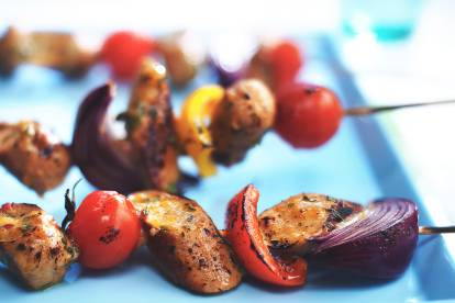 quorn sausage & vegetable sticky skewers vegetarian recipe