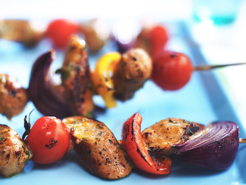 Quorn Sausage & Vegetable Sticky Skewers