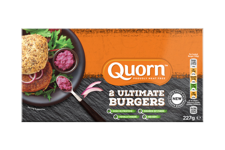 Meat free Quorn Ultimate Burger product packaging with nutritional information