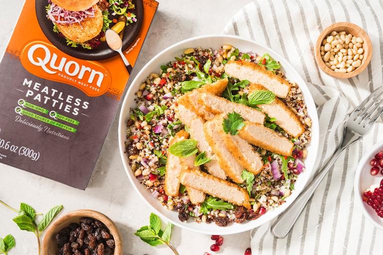 quorn herb escalope & quinoa healthy vegetarian salad recipe