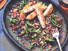 quorn herb escalope & quinoa healthy vegetarian salad recipe
