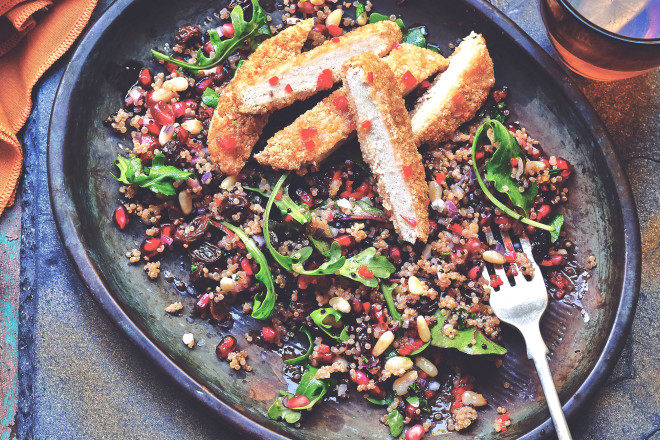 Meat Free Herb Escalope & Quinoa Salad