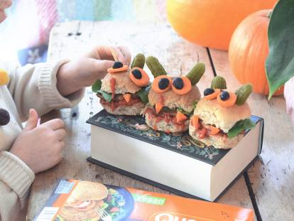 monster veggie halloween burgers recipe