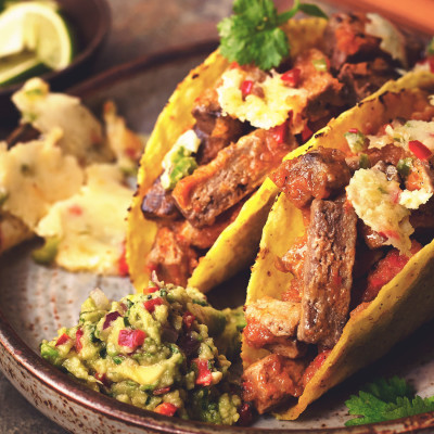 Quorn Meat Free Steak Strips Tacos with Guacamole & Queso Fundido