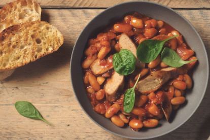 Quorn Sausages with Boston Style Baked Beans