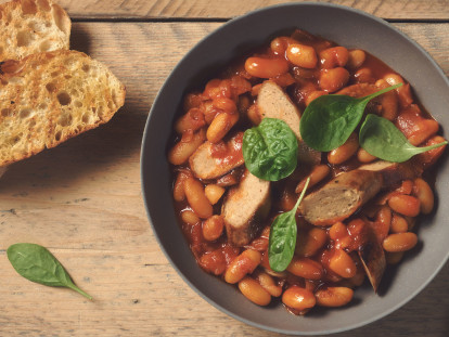 quorn sausages with boston style baked beans vegetarian recipe