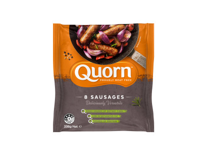 A bag of Quorn Sausages showing the prepared product and information on an orange and charcoal background.