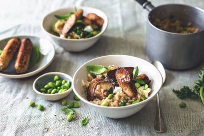 Brown Butter Risotto with Quorn Sausages