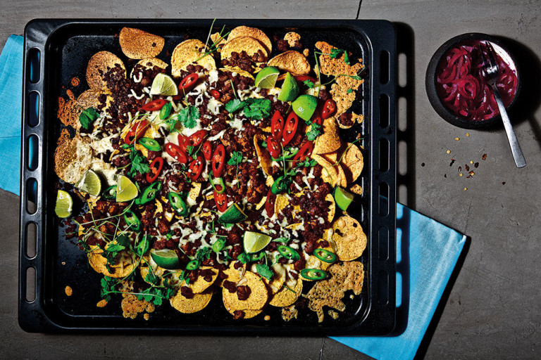 Loaded vegetarian nachos with Quorn Mince, chilli, cheese, lime and coriander