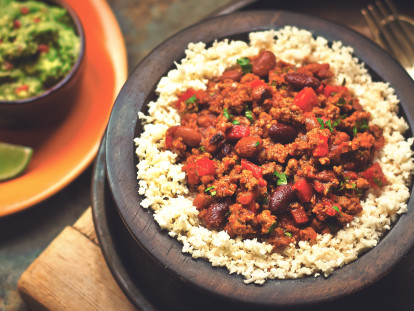 Meatless chilli con carne made with Quorn Meatless Grounds served on top of cauliflower rice in a bowl