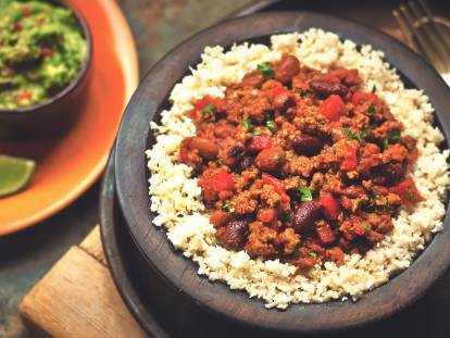 quorn chilli sin carne & cauliflower rice vegetarian recipe