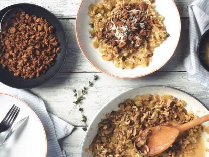 Vegetarisk risotto med Quorn färs och timjan