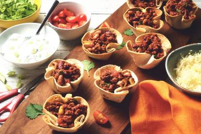 quorn mince chilli taco cups vegetarian recipe