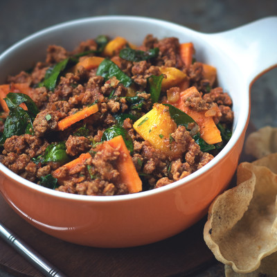 Quorn Meat Free Mince, Spinach and Sweet Potato Curry
