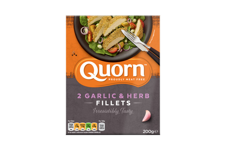 A box of Quorn Garlic & Herb Fillets showing the prepared product and information on an orange and charcoal background.