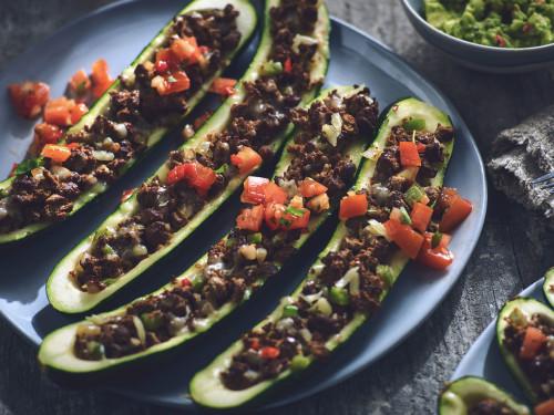 Quorn Stuffed Zucchini Tacos