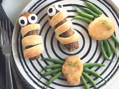 quorn sausage mummies & quorn nugget spiders vegetarian halloween recipe