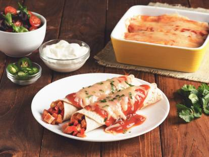 Quorn Roast Leftovers Enchiladas