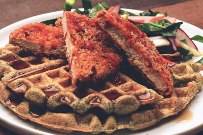 Quorn Spicy Chicken Patty & Blue Cornmeal Waffle with Collard Greens Slaw